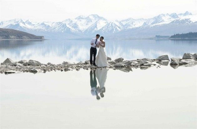 Wedding in New Zealand - Lake Tekapo.  Now look what they've got themselves into!