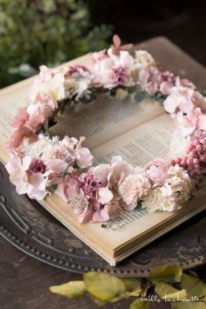 アンティークピンク×ホワイト クリップコサージュ 花冠 (8P) corolla#garland#wreath