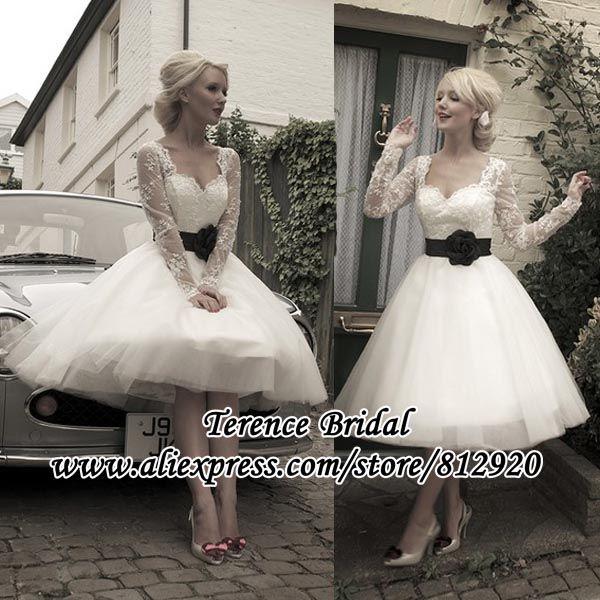 Big Fashion 50s short Custom Popular Cute Black Flower Sash Long Lace Sleeve Tea Length Wedding Dress Ball Gown Sweetheart $149.00