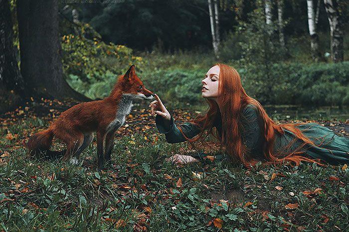 Retratos fantásticos de chicas pelirrojas con un zorro rojo   Bored Panda