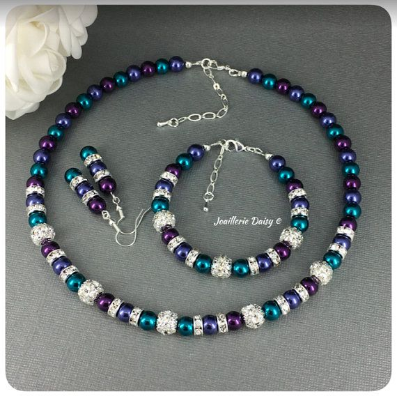 Bridesmaid Jewelry Pearl Rhinestone Necklace and Earrings Set Peacock Wedding Jewelry Set Pick Your Own Color