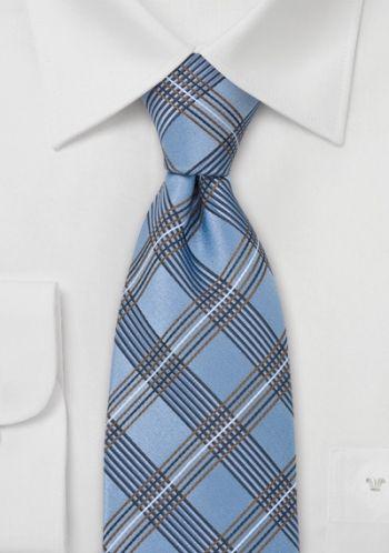 Cravate écossaise bleu cuivre soie
