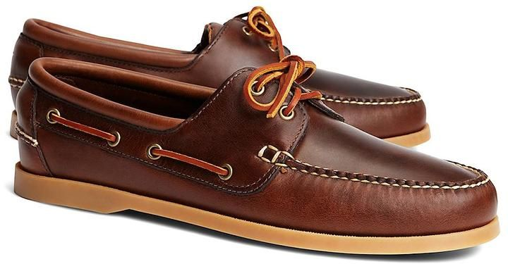 Dark Brown Leather Boat Shoes by Brooks Brothers. Buy for $148 from Brooks Brothers
