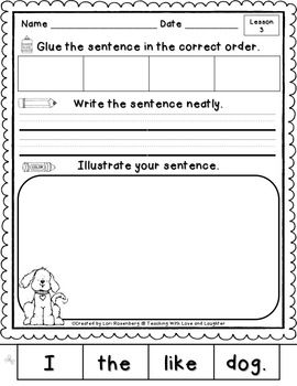 Kindergarten Journeys Sentence Puzzles - These are great for sentence-writing exercises and reinforcement!