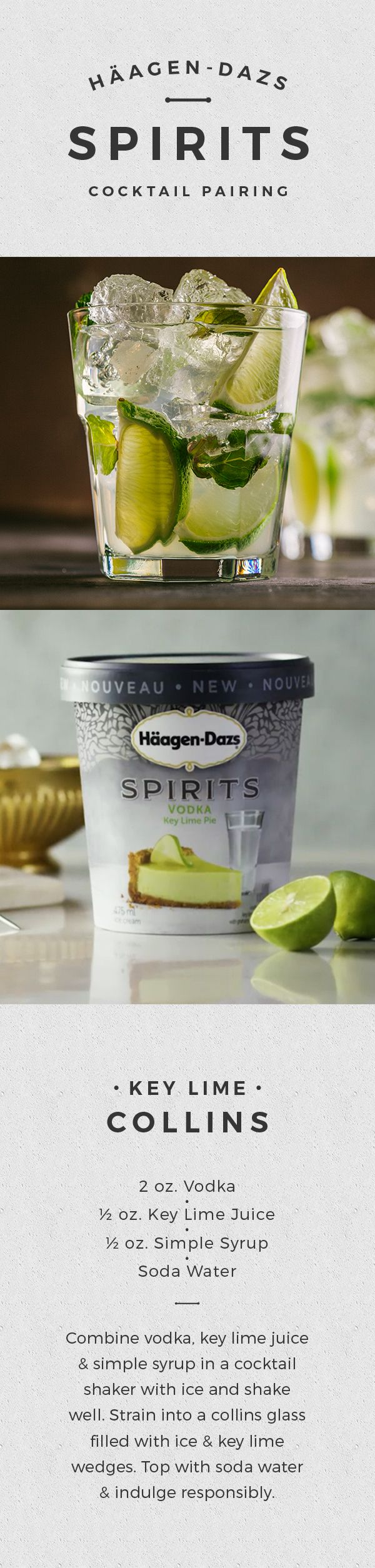 Treat yourself to a slice of summer with refreshing key lime ice cream infused with premium vodka and a luxurious graham cracker ripple. NEW Häagen-Dazs® SPIRITS are in stores now.