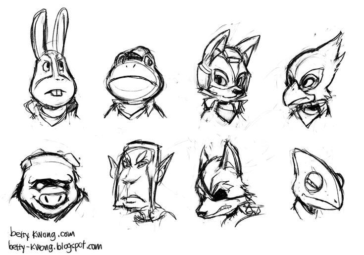 Star Fox 64 Headshot Sketches by BettyKwong.deviantart.com on @DeviantArt