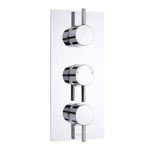Hudson Reed Moderne Triple Duscharmatur mit Funktionswechsler runde Griffe Unterputz - Como
