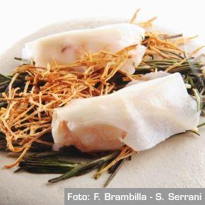 Scamponi, funghi e lardo al fumo di rosmarino - Chef Nuno Mendes