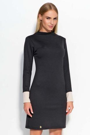 Black elegant & sexy long sleeve mini dress with beige trims.