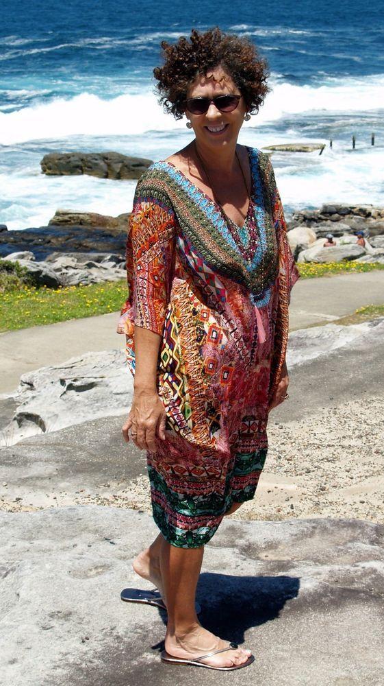 NWT Silk Crepe Kaftan Box+Top+Dress Plus Size 20-26+ Pink V Neck Embellished