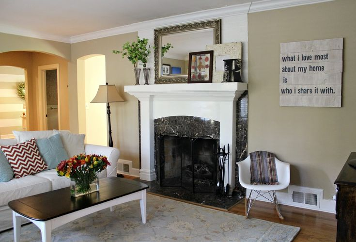 Living Room. Natural Beige Wall Living Room Paint Colors Is Combine With White Sofa And Brown Floor