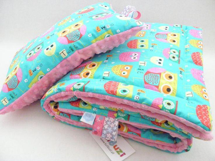 minky kocyk sowy sówki turkus róż minky baby blanket owls pink