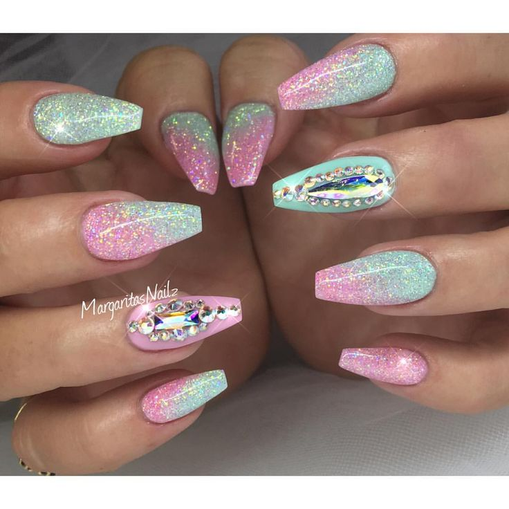 Crystal Gel Nail Video: Glitter Coffin Nails Swarovski Crystals Nail Art Spring