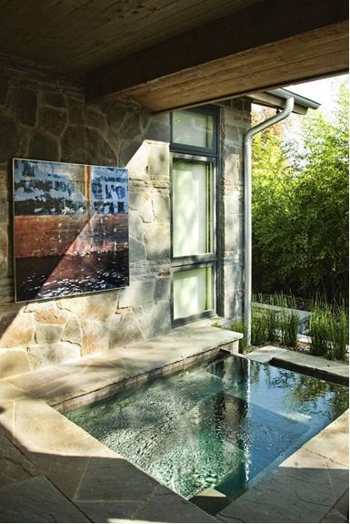 Plunge Pool || A plunge pool is a small, shallow pool built for the purpose of lounging, wading and cooling off instead of for swimming and exercising. Some homeowners prefer them because of their lower costs, smaller sizes, easier maintenance and reduced water requirements.