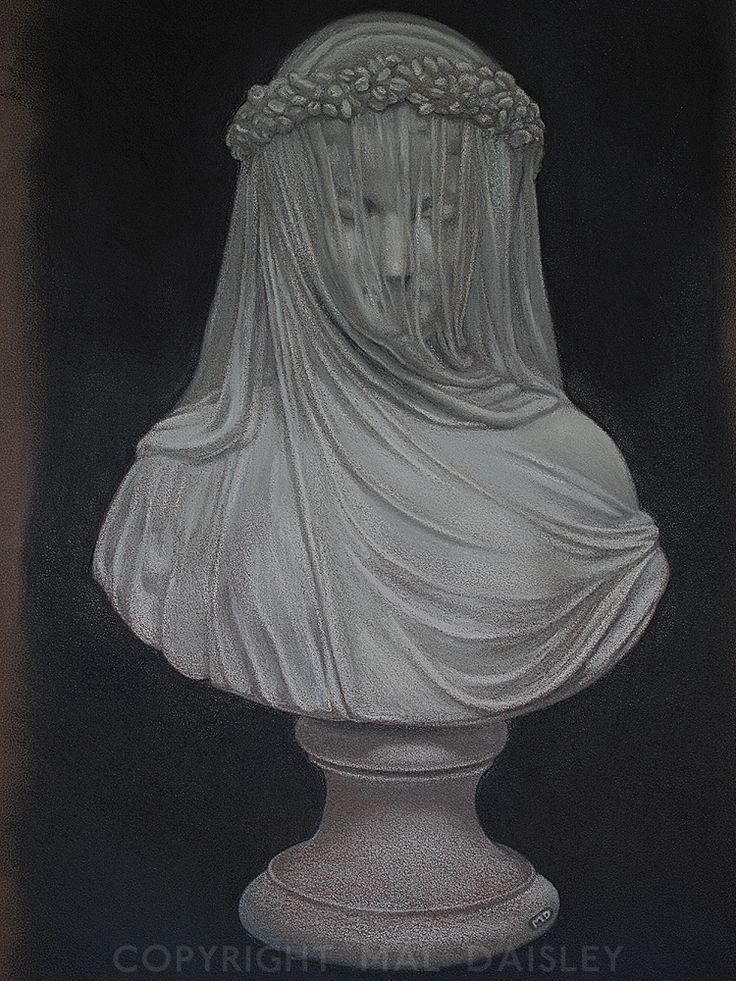 This is a pastel and graphite/coloured pencil drawing on Mi-Teintes card taken from a slip-cast bust of 'The Bride' by Copeland, Stoke-on-Trent, UK in 1873. I love the delicate lines and the subtle shading of the original and which I have tried to replicate with this study.