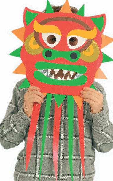 Chinese New Year Dragon Mask (with template!) for E's class party