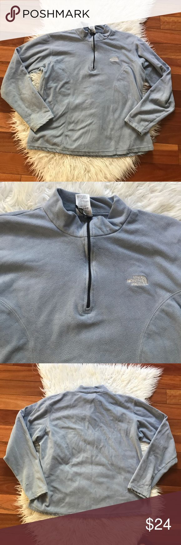 Great condition North Face half zip sweater Still in great condition half zip sweater by north face. Only flaw is right bottom sleeve has a small harden rip. Not noticeable when worn. North Face Sweaters Crew & Scoop Necks