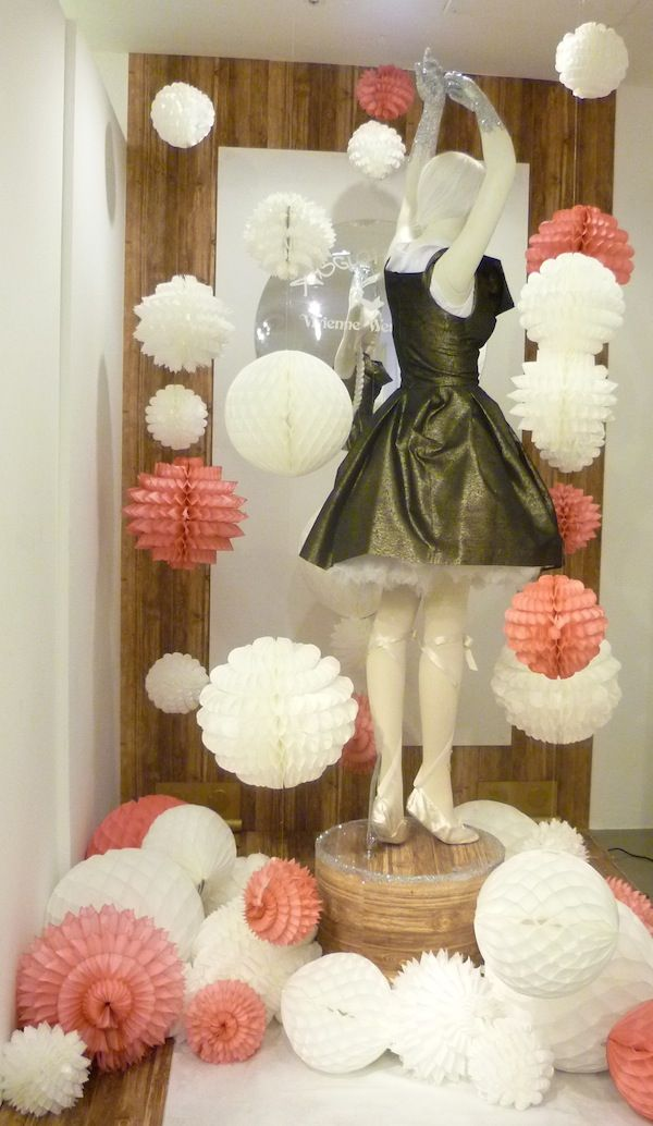 Add A Dash of Sparkle, like this gorgeous Vivienne Westwood dress set amongst large pink & white paper honeycomb balls