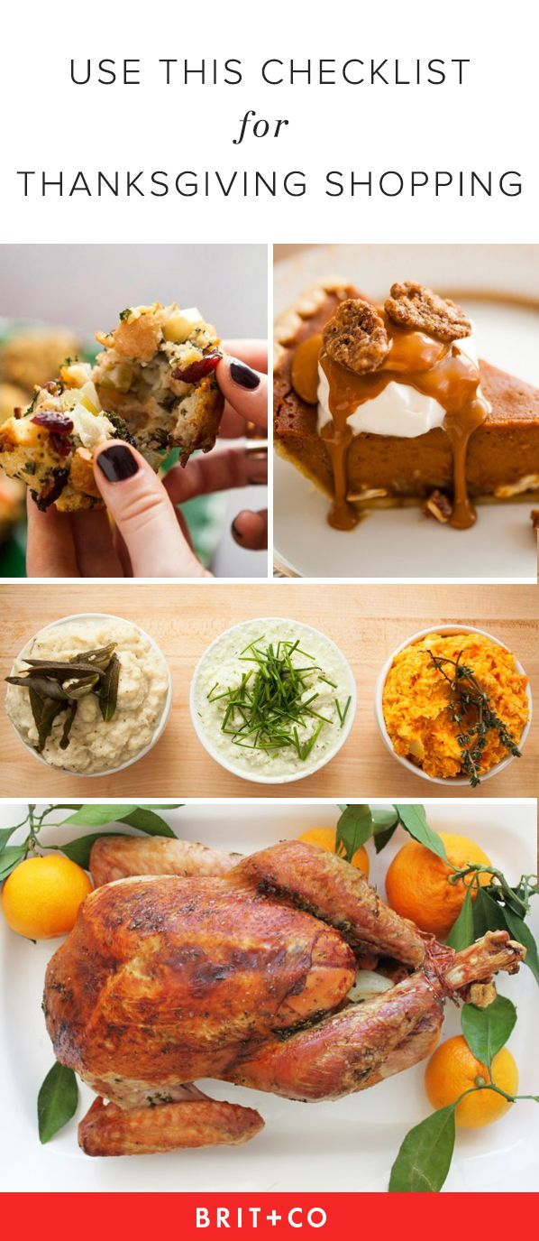 Bookmark this shopping list to complete your Thanksgiving menu easily.
