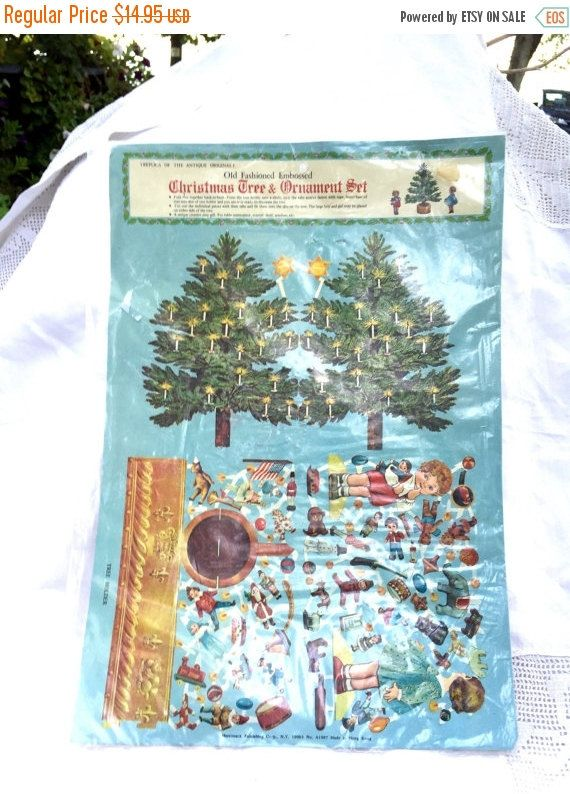 SEPTEMBER SALE Vintage ADVENT christmas tree ornament set paper christmas midcentury Christmas paper Hong Kong