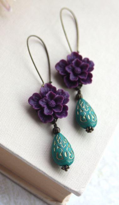 Amethyst Purple Sakura.  Green Ornate Beads with Gold Inlay Ornate Lucite Beads...