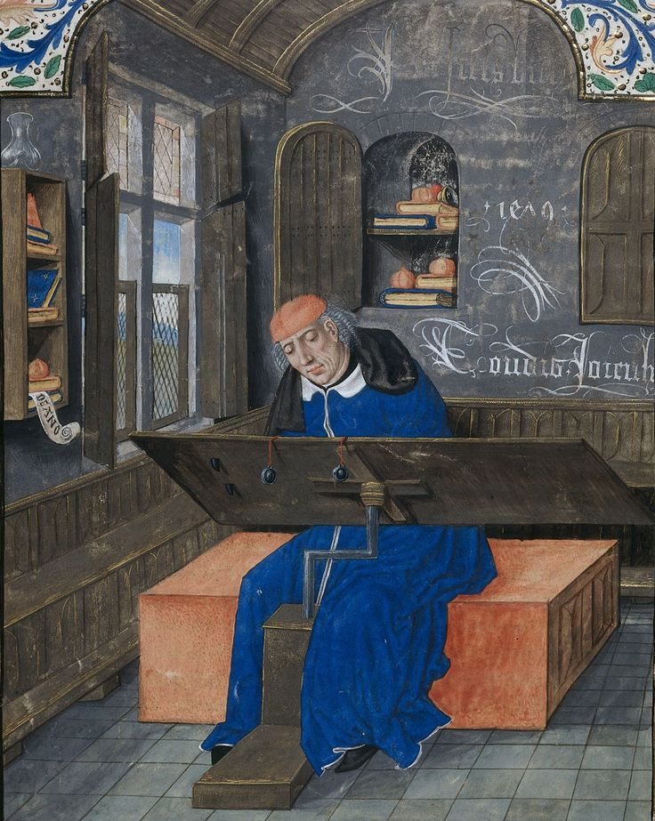 The translator Simon de Hesdin at work in his study. The inscription on the wall reads, 'Je suis bien / Toudis Joieulx', and a date '1479' > Illuminator: Master of the White Inscriptions (c. 1480).