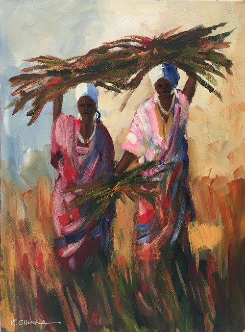 African Paintings Oil Painting - Wood Carriers by Mauro Chiarla