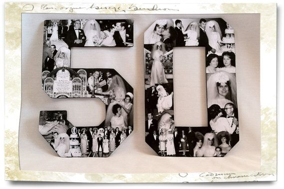 Custom Alphabet Collage Numbers for Anniversaries, 50th Wedding Anniversary, 25th Wedding Anniversary, 60th Wedding Anniversary