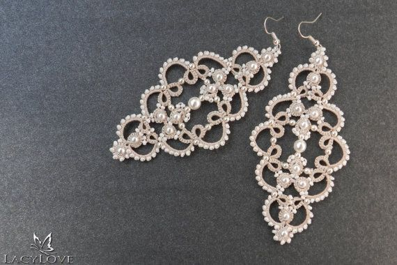 Tatted earrings Wedding earrings Bridal long by LacyLoveJewelry