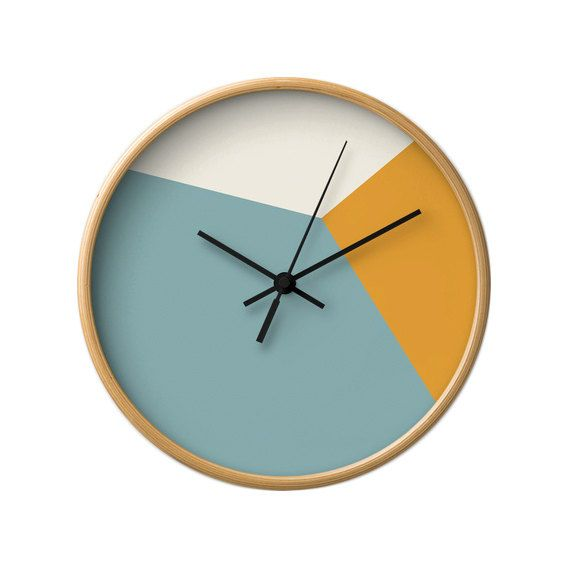 Hey, I found this really awesome Etsy listing at https://www.etsy.com/listing/213846789/teal-wall-clock-geometric-wall-clock