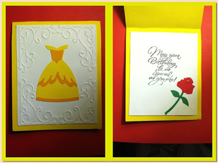 Cricut Disney Beauty and the Beast Birthday Card. Belle. Belle's Dress. Simple. Easy. HANDMADE MYSELF. Used: Life's a Party Cartridge, Disney Happily Ever After Cartridge, a birthday stamp, and the cuttlebug.