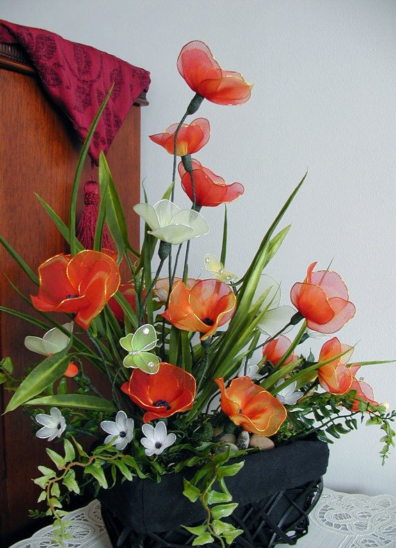 Handmade RedYellow Flowers Arrangment by LiYunFlora on Etsy, $40.00