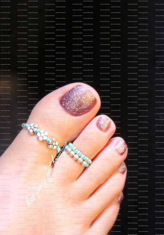 Big Toe Ring Combo Silver Violets Turquoise by FancyFeetBoutique More