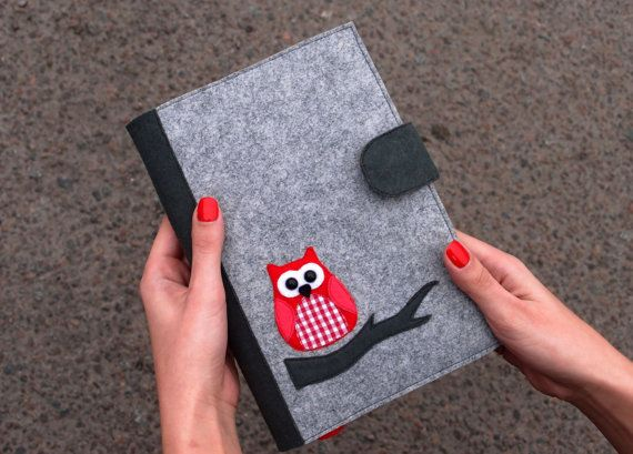 Refillable Felt Journal Cover, Felt Notebook Cover, Fabric Planner Cover, Reusable Diary Cover Decorated with Owl, Elegant Gift for Her