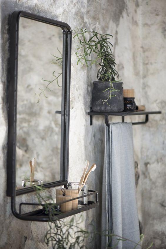 Zwart/grijs metalen spiegel met tableau, 70 cm hoog x 50 cm breed
