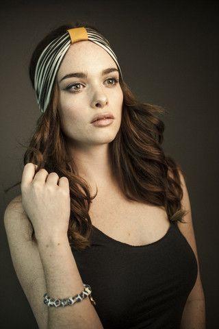 Ladies: Striped bamboo headband with sunshine yellow leather loop