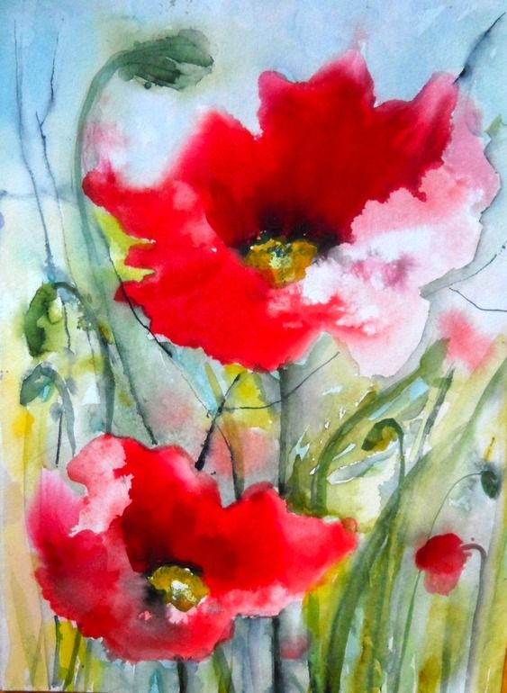 "Karin Johannesson; Watercolor, 2013, Painting ""Poppies II"""