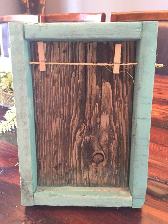 Rustic Reclaimed Clothesline Picture Frame  teal