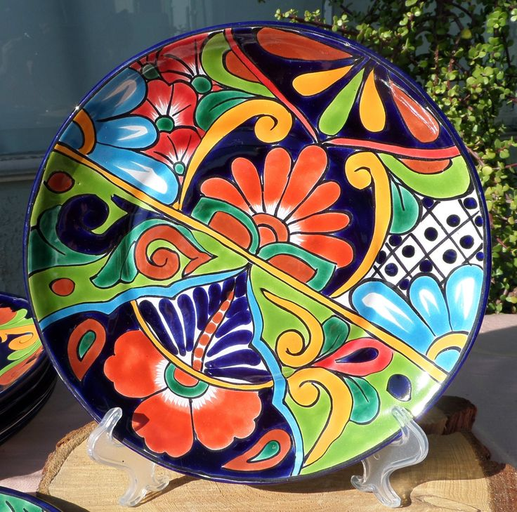 "mexican talavera pottery | Talavera Mexican pottery lunch dinner plate 9-3/4"" hand painted Lead ..."