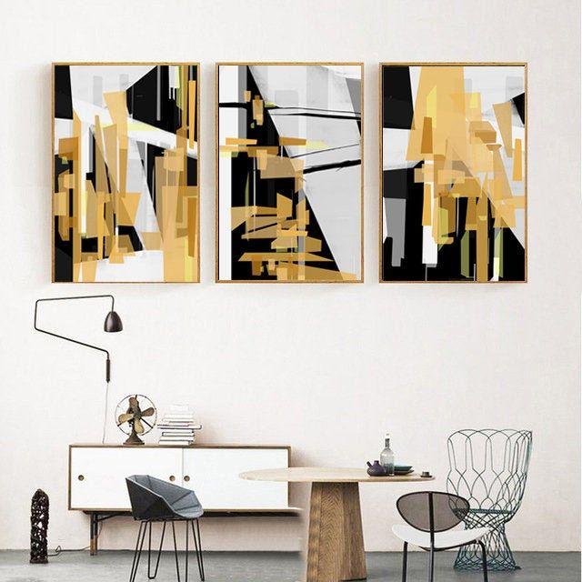 Black and Yellow Decor Art Prints Set of 3 Black /& Yellow Squares Abstract prints