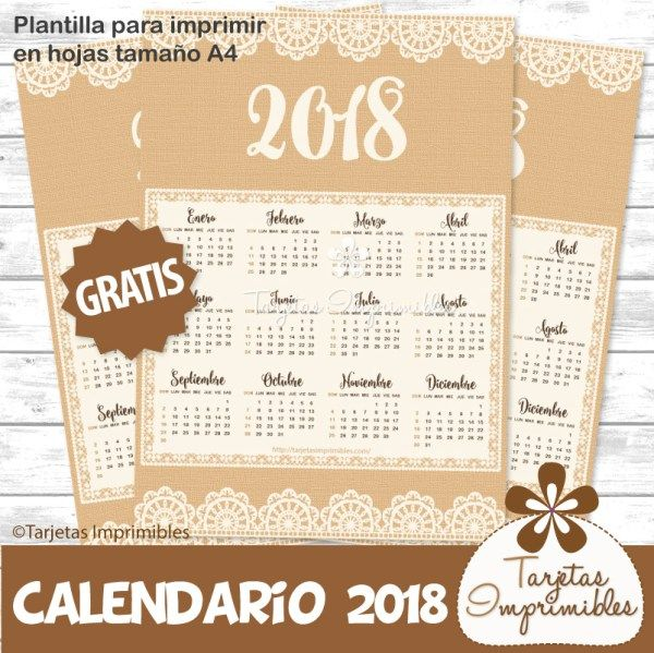 Calendarios 2018 para imprimir gratis | Tarjetas Imprimibles Calendarios 2018 en español con diseños de unicornios, flores, paris, estilo rústico, shabby chic y cactus. Calendarios imprimibles.
