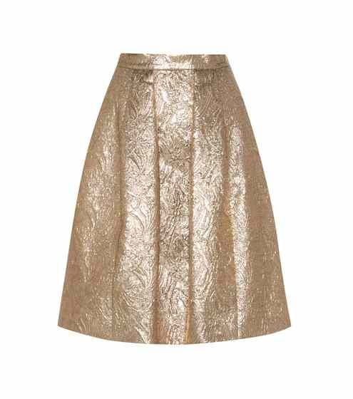 Metallic wool and silk-blend jacquard cloqué skirt | Oscar de la Renta