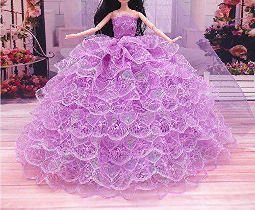 Youvinson Diversi abiti fatti a mano da sposa e vestiti per bambole Barbie (Viola chiaro)