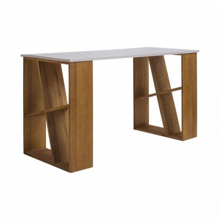 tables for home office. Home Office Table Workstation Side Shelves White Brown Desk Laptop Sturdy Wooden Tables For O
