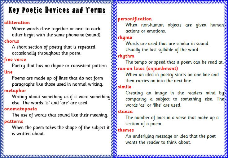 List of poetic devices, terms & definitions, by @PrimaryIdeas #ukedchat…