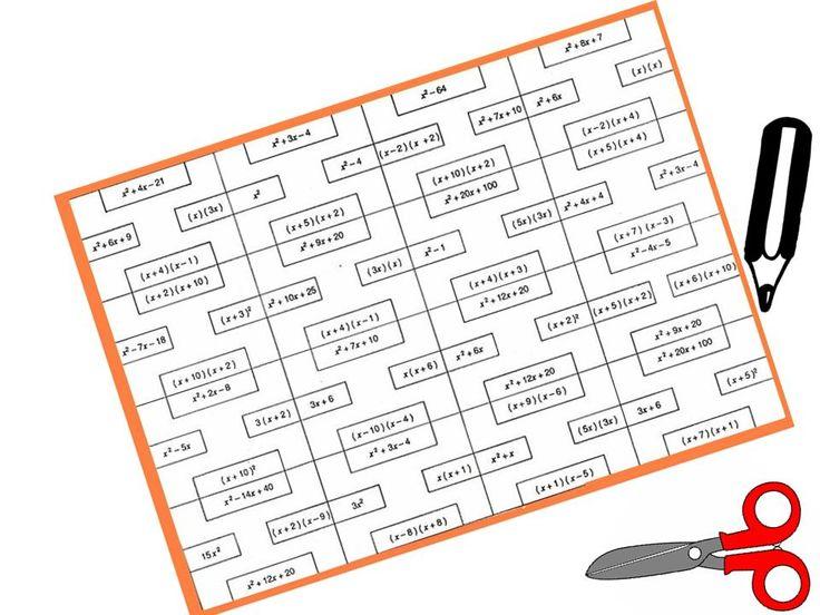 puzzle blanco de ecuaciones de segundo grado