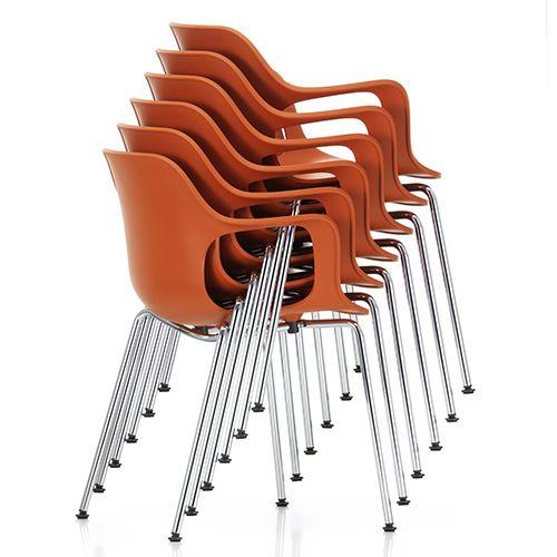 Hal Armchair Tube er en ny serie fra Vitra. Ergonomisk mødestol eller kantinestol i sort, hvid, grøn, isgrå, teglrød, beige, chokolade eller orange plast. www.moffice.dk