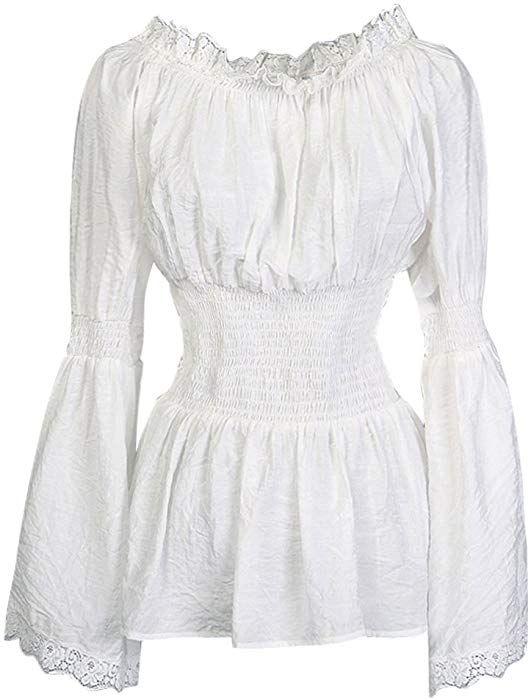 1e437c4fd754ef Charmian Women s Long Sleeve Off Shoulder Lace Trim Blouse Tops White  XX-Large at Amazon Women s Clothing store