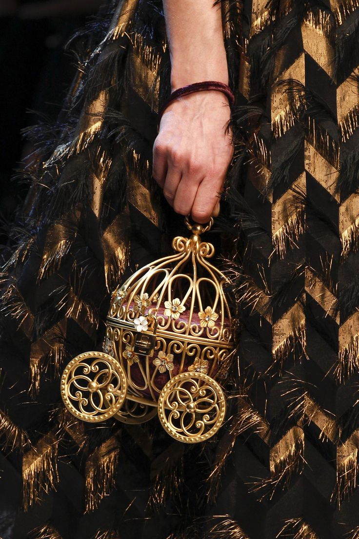 Fairytale Accessories - Cinderella style pumpkin carriage cage bag in gilded gold with ornate wheels - Dolce & Gabbana #gototheball...x