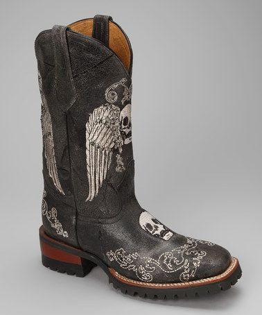 Take a look at this Black 922-16 C-Toe Skull Western Boot by Johnny Ringo Boots on #zulily today!: Design Shoes, Johnny Ringo, Black Skull, Black Leather, Ringo Boots, Boots Woman, Skull Design, Westerns Boots, Cowboys Boots